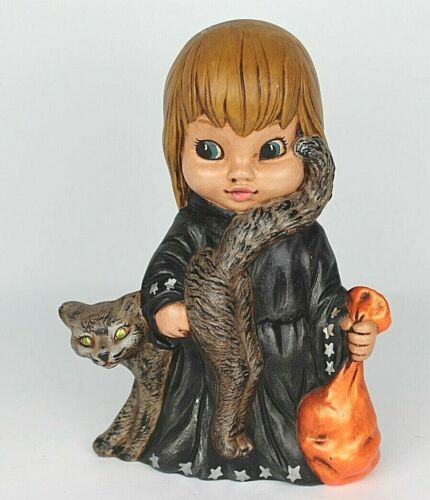 """VINTAGE CERAMIC HAND PAINTED HALLOWEEN WITCH CAT 11"""""""