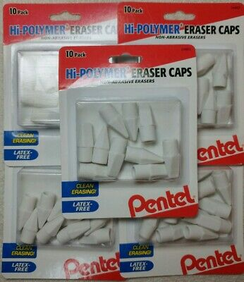 5 Packs Pentel High Hi Polymer Latex Free 50 Eraser Caps Pencil Tops Erasers