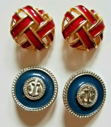 Vintage Earrings Lot of 2 Pairs Red Blue Clip On Office Wear Costume Jewelry