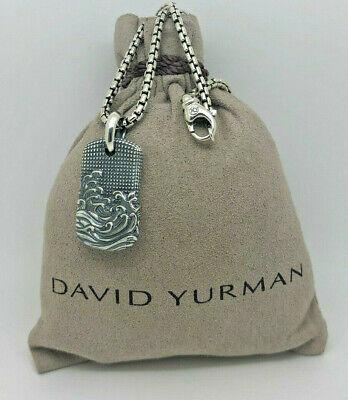 - DAVID YURMAN Men's Waves Pendant w/ Box Chain Necklace 20