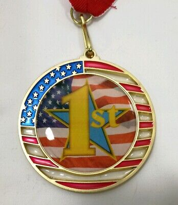 1st Place Medal - Gold Medal - Champion Award - Flag Design With Ribbon - 1st Place Ribbons