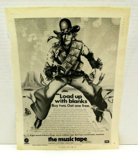 Vintage 1975 The Music Tape By Capitol Western Cowboy Magazine Print Ad Black