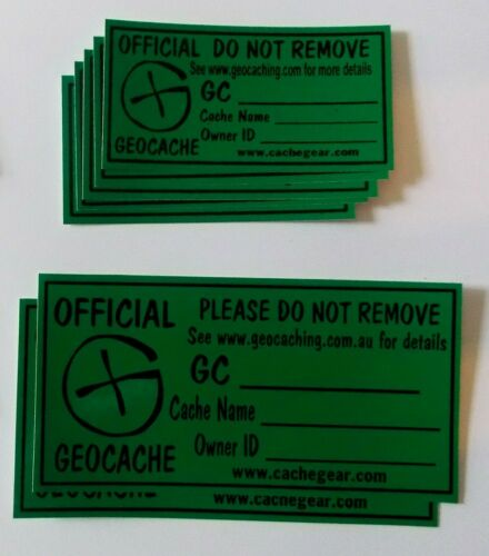8 large and 10 medium size Cache stickers for Geocaching black print on green