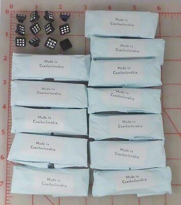 "144 vintage sm black glass square shank rhinestone buttons Czech 3/8"" 10mm 461"