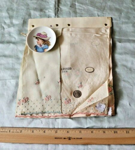4 Rare Antique Swiss Cotton Embroidered Flowers On Silk Fabric Samples~Dolls