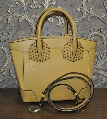 Authentic New Christian Louboutin Eloise Small Two Handle Yellow Calfskin Bag