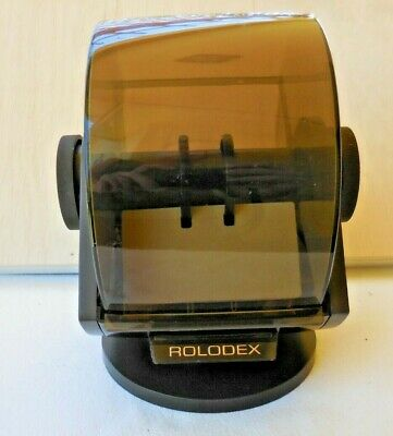 Vintage Rolodex Sw 24c Plastic Large Round File Index Cards Swivel Faux Wood