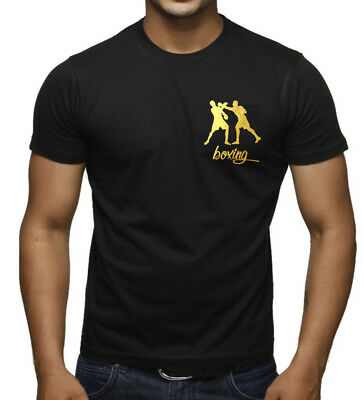 New Mens Gold Foil Boxing Emblem Black T Shirt Mma Fighting Training Beast