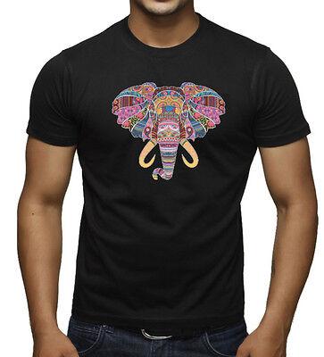 New Men's Mosaic Tribal Elephant Head Classic Black T Shirt Colorful Safari Tee