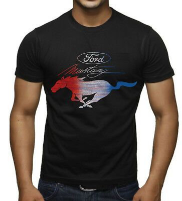 Mustang White Shirt - Men's Ford Mustang Red White & Blue Black T Shirt Fastback GT Classic Car Racing
