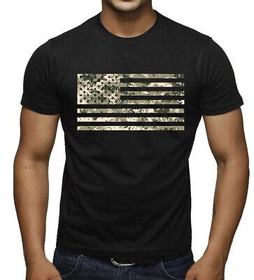 Men's Digital Camo US Flag Black T Shirt American Military USA Army America - Army Digital Camo T-shirt
