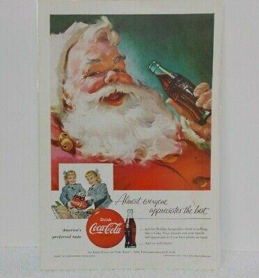 "1955 COKE COCA-COLA AD - Santa - Twins - 6 5/8"" x 10"""