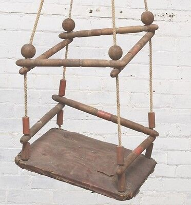 Antique Children Swing Vintage Wood  Playground Toy