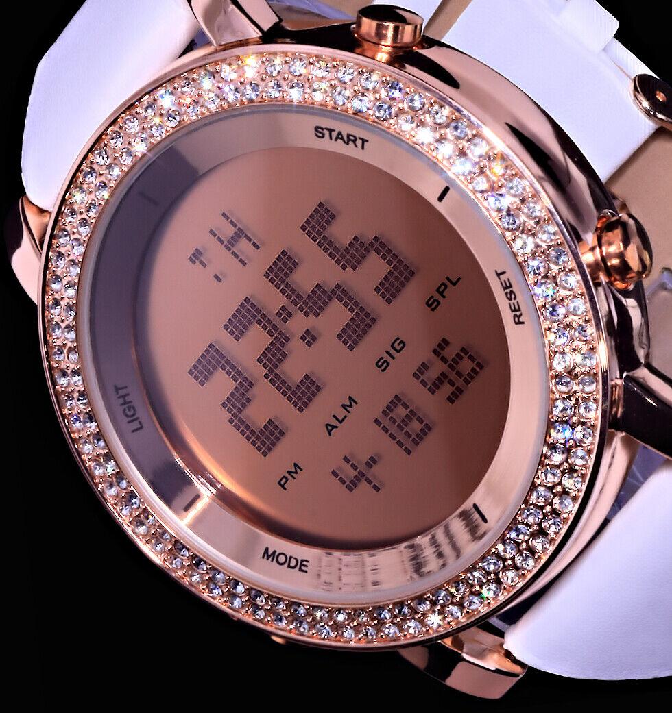 Excellanc XXL Damen Armband Digital Uhr Weiß Rosegold Farben Blaues Licht Strass