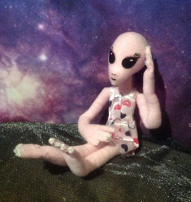 PINK GIRLIE ALIEN, Handmade, OOAK 1 ft. tall w/wire armature for posing.