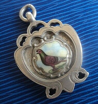 Vintage Silver & Enamel Fob Medal / Pendant Pigeon 1930 Chester  -  not engraved