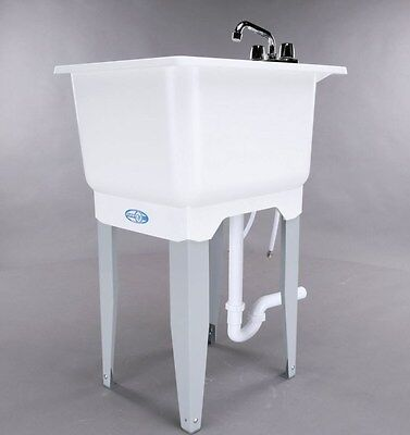 White Utility Laundry Sink with Faucet and Trench Freestanding Tub Sink Basement
