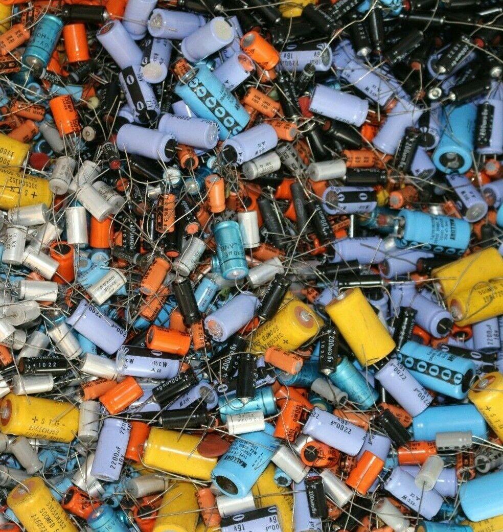 2 lbs Grab Bag! Assorted Lot Vintage Capacitors NOS Sprague Electrolytic Ceramic