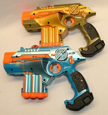 2 Nerf Lazer Tag Phoenix LTX Blue & Orange Copper Light Guns C02903 Tested