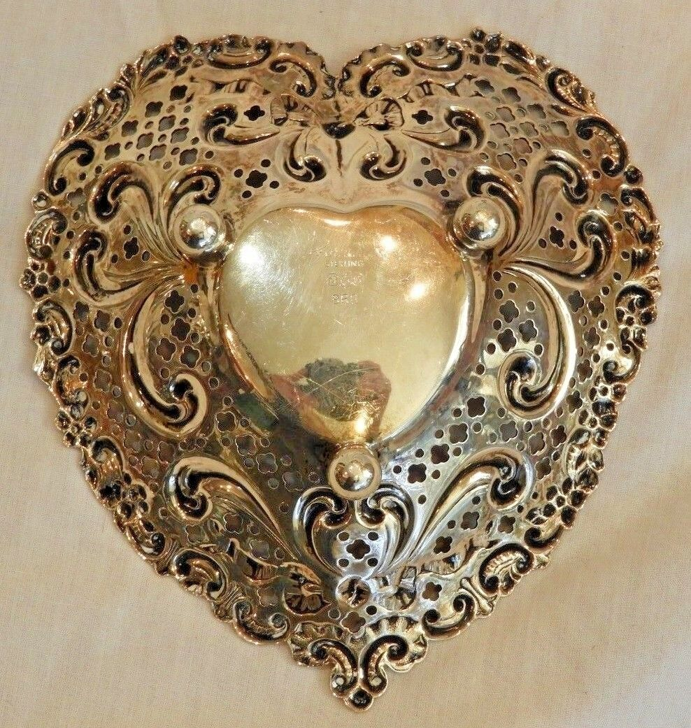 Vintage Gorham Sterling Silver Repousse Heart Dish - $159.20