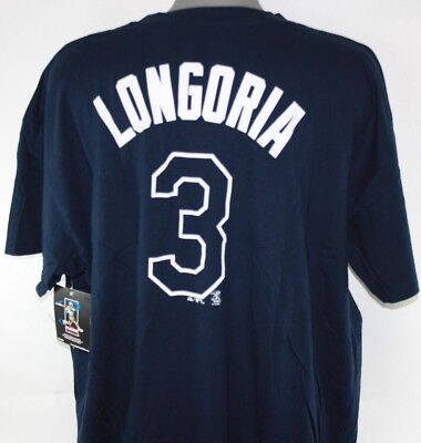 Mens Majestic Tampa Bay Rays Evan Longoria #3 Blue MLB Big & Tall T-Shirt - Tampabay Rays