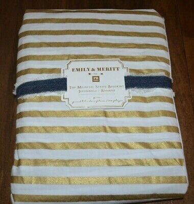 Emily Queen Bed (Pottery Barn PB Teen Emily & Meritt Gold Metallic Stripe Bed Skirt)