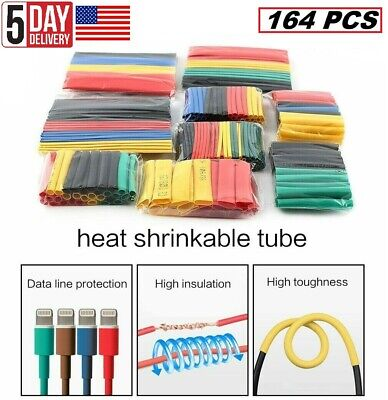 164pcs Cable Heat Shrink Tubing Sleeve Wire Wrap Tube 21 Assortment Kit Set