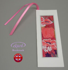 New Floral Embroidered Ekard Bookmark Gift Batik Quality UK Derbyshire