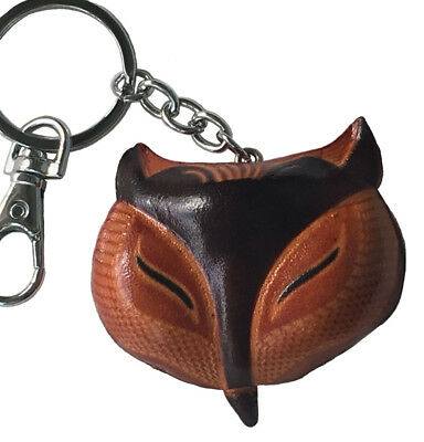 Genuine Leather key-chain/bag-charm, a Happy Fox face Patter