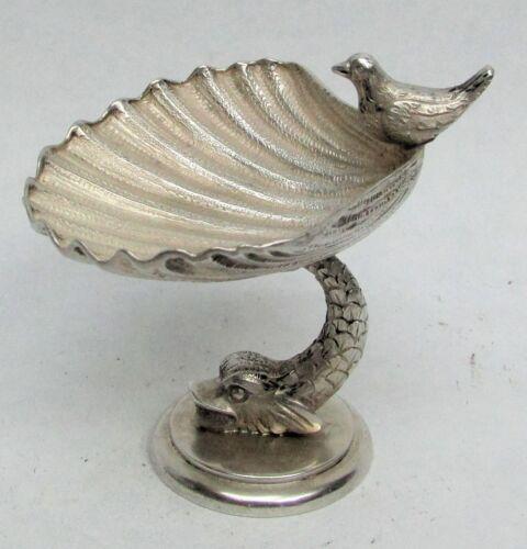 WONDERFUL VINTAGE ANCIENT DOLPHIN SILVER MINI BIRD BATH SALT DISH