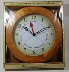 Dayclocks Classic Oak Day-of-the-Week Wall Clock Retirement Gift ROUND VERSION