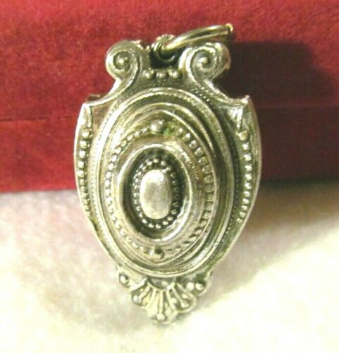 VICTORIAN Revival VINTAGE PUFFY DOUBLE SIDED SILVER PENDANT CHARM FOB
