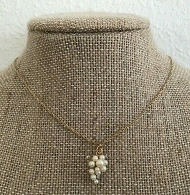 Vtg Krementz Gold Overlay Faux Pearl Grapes Rhinestone Accents Pendant Necklace Gold Grapes Accents