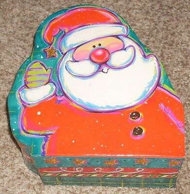 Vintage The Lindy Bowman Co. Christmas Santa Gift Box Hard Cardboard Longs Drugs