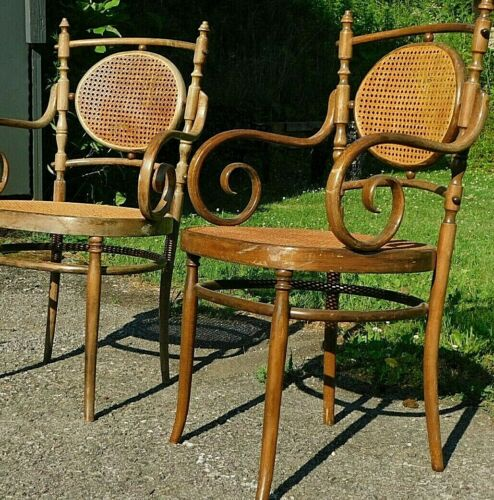 Antique Pair Fancy Italian THONET Cane Bentwood Arm Throne Captain Parlor Chairs