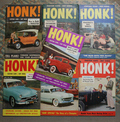 HONK #1-7 1953 HOT ROD CUSTOM FLATHEAD SCTA BONNEVILLE 32 FORD CAR CRAFT LOT VTG