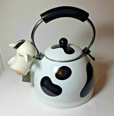 Vintage M Kamenstein Black White Cow Whistling Tea Kettle Teapot Stovetop Clean