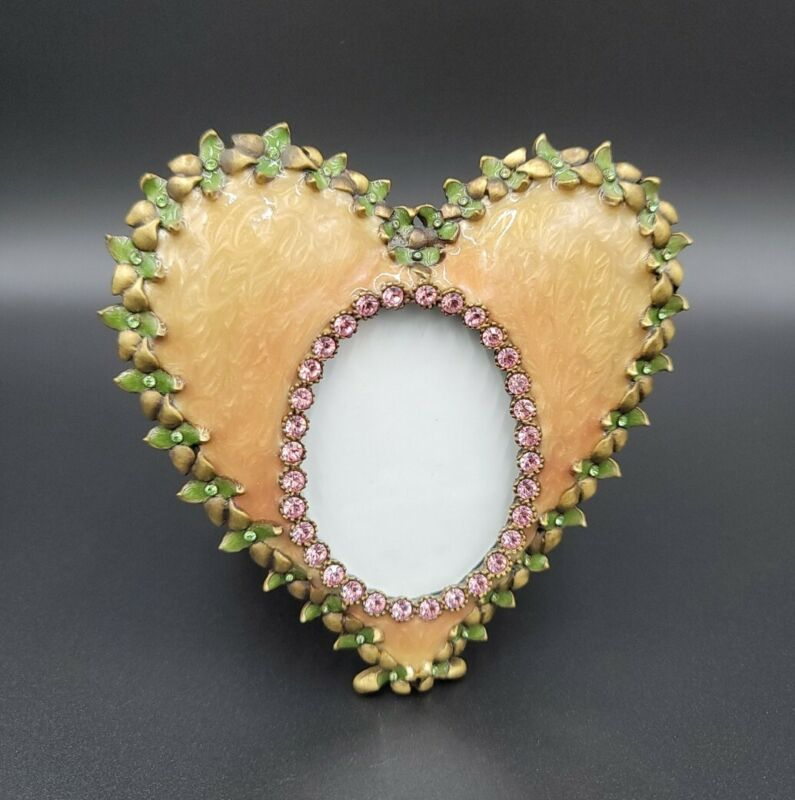 """Jay Strongwater 4"""" Heart Shaped Photo Frame Pink & Green Swarovski Crystals MINT"""