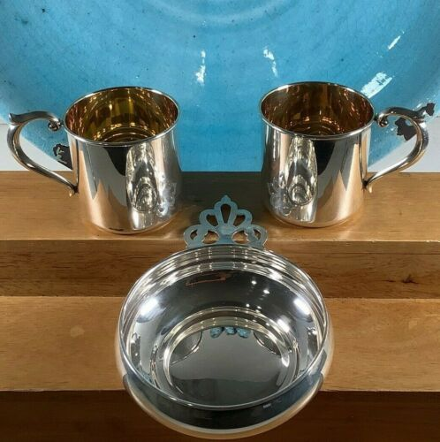 """1950 Sterling Silver 3.5 """"Alvin Lullaby S-259 Baby Dish/2x S-188 Cups 144 Grams"""