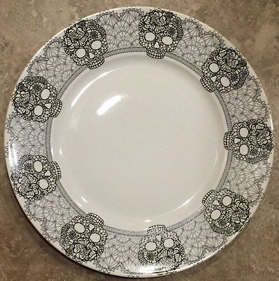 222 Fifth SKULL LACE Dinner Plate Set Of 4 SUGAR SKULL DAY OF THE DEAD