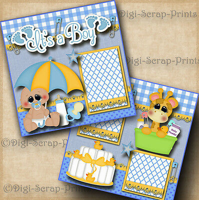 IT'S A BOY baby 2 premade scrapbook pages shower layout paper piecing DIGISCRAP