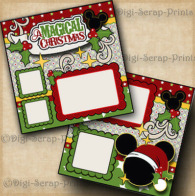 DISNEY CHRISTMAS ~ 2 premade scrapbook pages paper piecing layout  ~BY DIGISCRAP