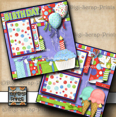BIRTHDAY ~ 2 pre-made scrapbook pages paper piecing layout ~BY DIGISCRAP #A0101