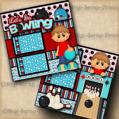LETS GO BOWLING 2 premade scrapbook pages paper piecing BOY layout ~ DIGISCRAP