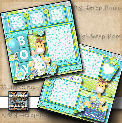 BABY BOY premade scrapbook pages paper piecing layout for album DIGISCRAP A0045