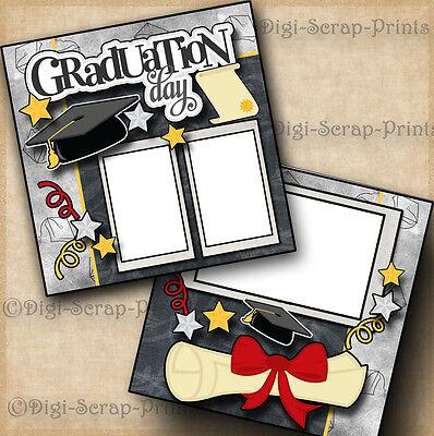 GRADUATION DAY 2 premade scrapbook pages paper piecing layout school ~ DIGISCRAP