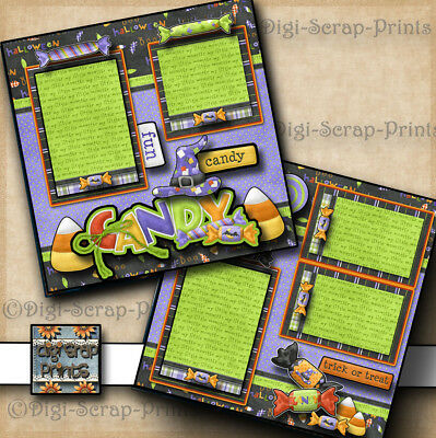 HALLOWEEN CANDY trick or treat 2 premade scrapbook pages paper layout - Halloween Scrapbook Layout Pages