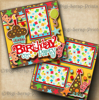 BIRTHDAY PARTY ~ 2 premade scrapbook pages paper piecing layout ~ BY DIGISCRAP