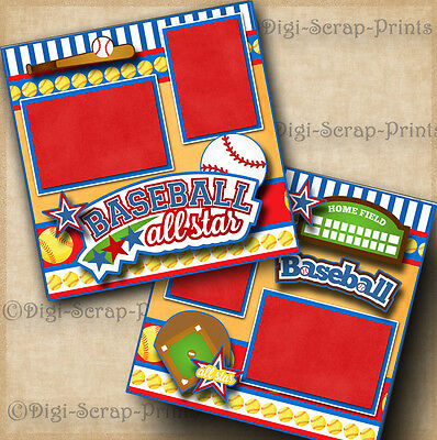 BASEBALL ~  BOY or GIRL 2 pre-made scrapbook pages layout ~BY DIGISCRAP #A0077
