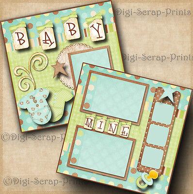 BABY MINE BOY 2 premade scrapbook pages for album layout scrapbooking digiscrap